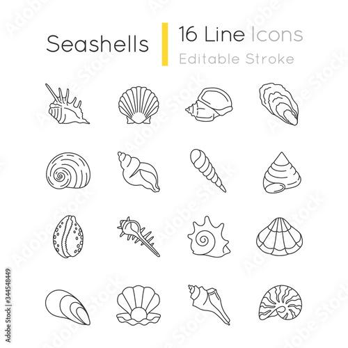 Obraz na płótnie Seashells pixel perfect linear icons set