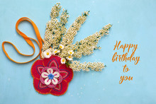 Beautiful Handmade Felt Flower With Bouquet Of Spiraea And Daisies In It. Birthday Concept