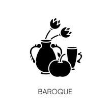 Baroque Black Glyph Icon. Trad...