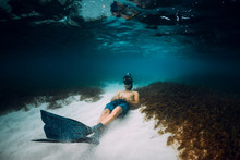 Freediver Man With Freediving ...