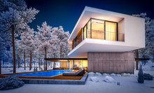 3d Rendering Of Modern Cozy House On The Hill With Garage And Pool For Sale Or Rent With Beautiful Landscaping On Background. Cool Winter Night With Warm Cozy Light Inside.