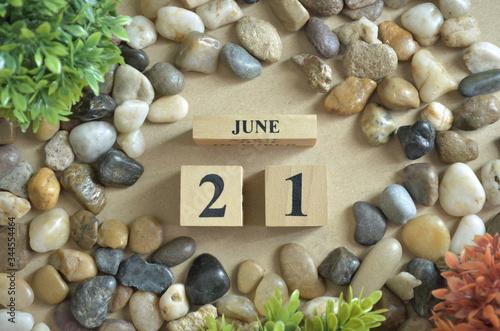June Month, Appointment date with number cube design, colorful stone Tapéta, Fotótapéta