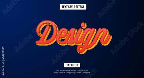 3D Orange design text effect, Editable text effect Fototapet