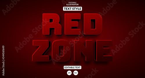 Fényképezés Red zone warning text effect, Editable text effect
