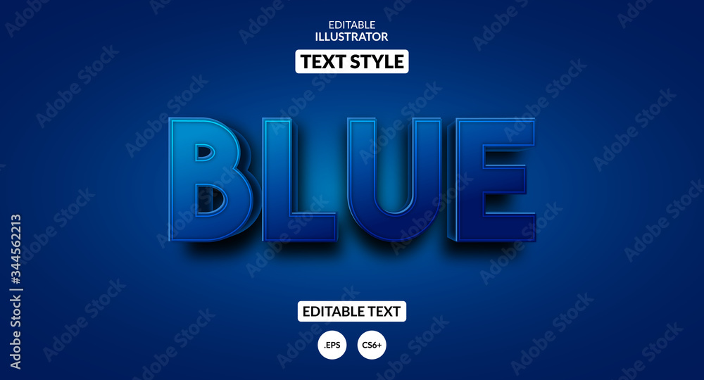 Fototapeta 3D blue text effect, Editable text effect