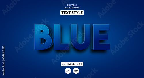 Obraz 3D blue text effect, Editable text effect - fototapety do salonu