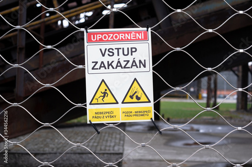 Warning sign with text (translation from czech language: Caution: No Admittance) Canvas Print