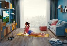 Young Woman Exercising At Home...