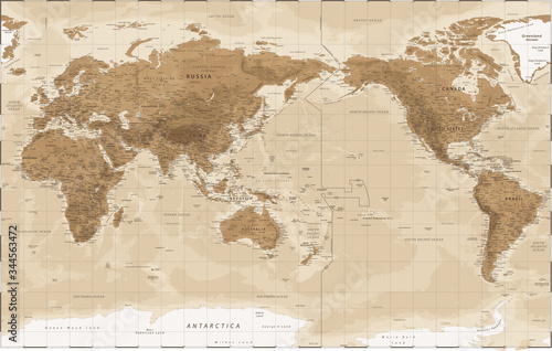 Obraz na plátně World Map - Pacific China Asia View - Vintage Physical Topographic - Vector Deta