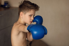 A School-aged Boy Is Boxing At Home During Quarantine. Sport Is Not A Hindrance. Willpower Is Brought Up By Training.
