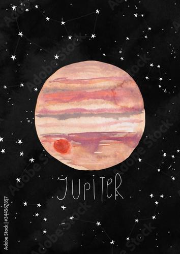Obraz na płótnie Hand Painted Illustration with Jupiter Planet