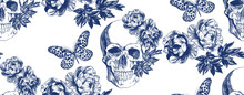 Vintage Blue Skull With Flower...