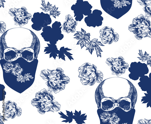 Photo Vintage blue skull in bandana with flowers seamless pattern