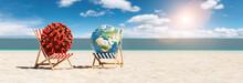 Pair Of Beach Chairs With Coro...