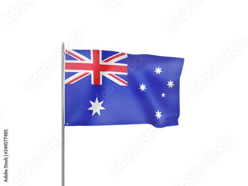 Australia flag waving white background 3D illustration