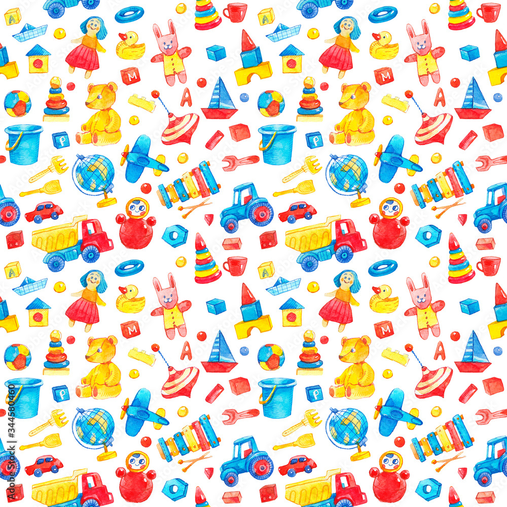 Kids toys watercolor, bright seamless cartoon baby background. Blue, red and yellow vintage dolls, wooden bricks, cars, duck, balls, xylophone, teddy bear, airplane, globe.