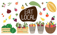 Eat Local Lettering Vegetables...