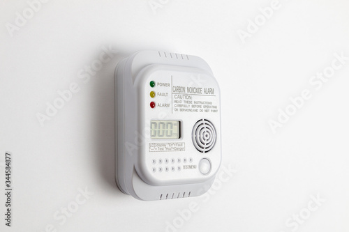 Carbon monoxide detector on a white wall Canvas Print