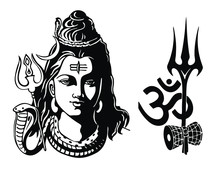 Lord Shiva With Trident, Om And Damroo Vector Illustration