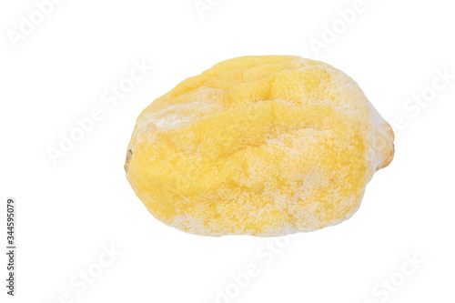close up of yellow lemon rancid isolated on white background with clipping path Tapéta, Fotótapéta