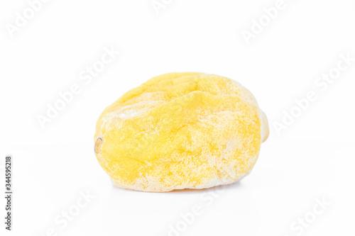 Valokuva close up of yellow lemon rancid isolated on white background .