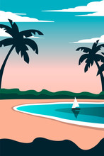 Creative Concept Vector Illustration Sailing Boat Yacht At The Sea With Beach Palms In The Sunlight Sundown Sunset Dusk.