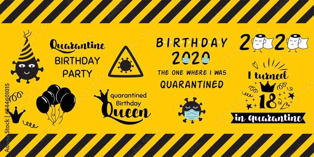Fototapeta Quarantine home party clipart elements on yellow black caution banner Home Birthday celebration stickers coronavirus