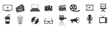 Cinema Icons Set Vector Illustration. Contains Such Icon As Film, Movie, Tv, Video And More.