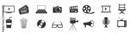 Fototapeta Cinema icons set vector illustration. Contains such icon as film, movie, tv, video and more.  obraz