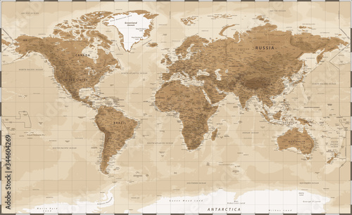 Obraz na plátně World Map - Vintage Physical Topographic - Vector Detailed Illustration