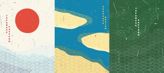 Vektorska ilustracija. Apstraktna pozadina krajolika. Japanski dizajn uzorka. Geometrijski predložak. Tradicionalni Japan. Azijski koncept plakata. Vintage umjetnost. Retro grafika 70-ih, 80-ih. Ocean, otok, šuma