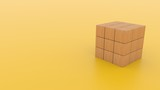 A  3D Illustration  of a wooden cube with a solid color background.