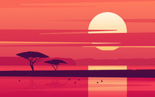 Vivid Sunset Over The African Lake. Vector Illustration