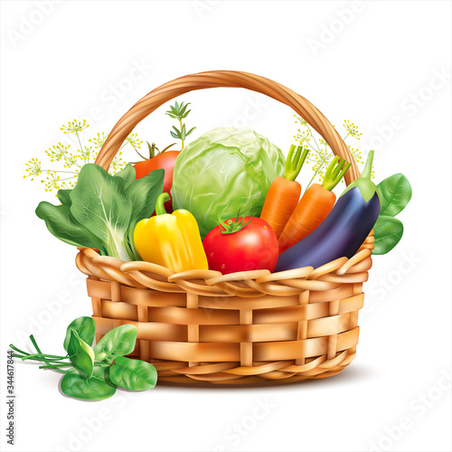 Basket with vegetables and herbs isolated on white. Vector illustration.
