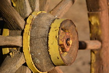 Close-up Of Old Wagon Wheel