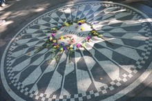 High Angle View Of Flowers On Strawberry Fields At Central Park