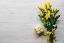 Bouquet Of Tulips With Gift Bo...