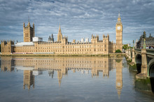 Palace Of Westminster And Big Ben Reflected On Thames River In City