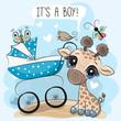 Baby carriage and Cute Giraffe