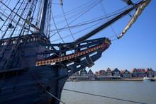 Wooden VOC Ship The Halve Maen In The Harbor Of Volendam