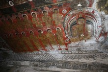 Low Angle View Of Old Wall Paintings In Buddhist Temple