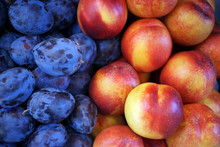 Detail Shot Of Plums And Peaches