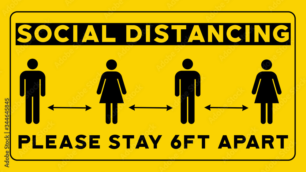 Fototapeta Social Distancing Please Stay 6ft Apart Yellow Sign