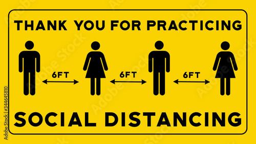 Fényképezés Thank You For Practicing Social Distancing Yellow Sign