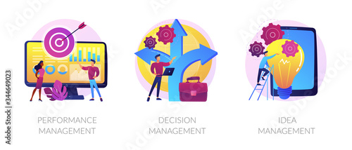 Fotomural Workflow optimization, business direction choosing, startup launch icons set