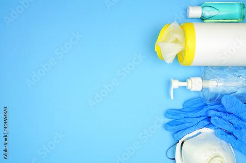 Covid 19 prevention equipment, hand sanitizer, sanitizing wipes, gloves, n95 mask Wallpaper Mural