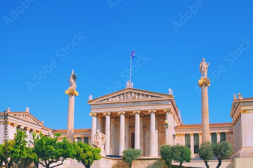 National Academy of ancient Athens neoclassical building, Plato, Socrates, Athena and Apollo statues Canvas Print