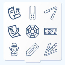 Simple Set Of 9 Icons Related ...