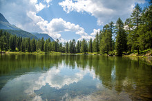 San Pellegrino Lake In San Pellegrino Pass: A High Mountain Pass In The Italian Dolomites
