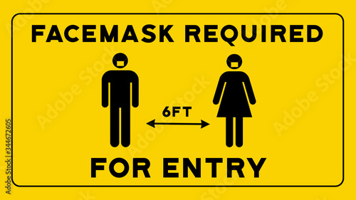Valokuva Facemask Required For Entry Sign